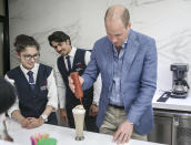 <p>During the Duke of Cambridge's 'historic' trip to the Middle East, William helped to make coffees with student baristas at Al Quds College on June 25, 2018. <em>[Photo: Getty]</em> </p>