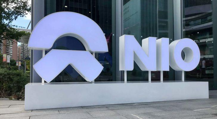 A Nio (NIO) sign outside of the company's facilities in Shanghai, China. nio is a hot stocks