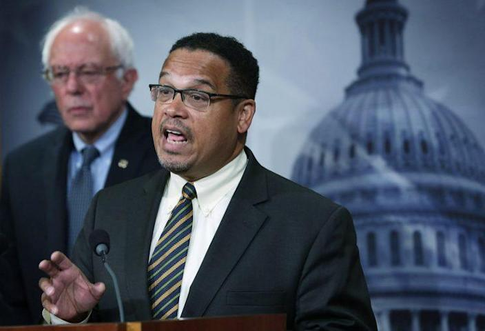 U.S. Sen. Bernie Sanders (I-VT) and Rep. Keith Ellison (D-MN) speak to members of the media during a news conference about private prisons September 17, 2015 on Capitol Hill in Washington, DC. The legislators announced that they will introduce bills to ban private prisons. (Alex Wong/Getty Images)