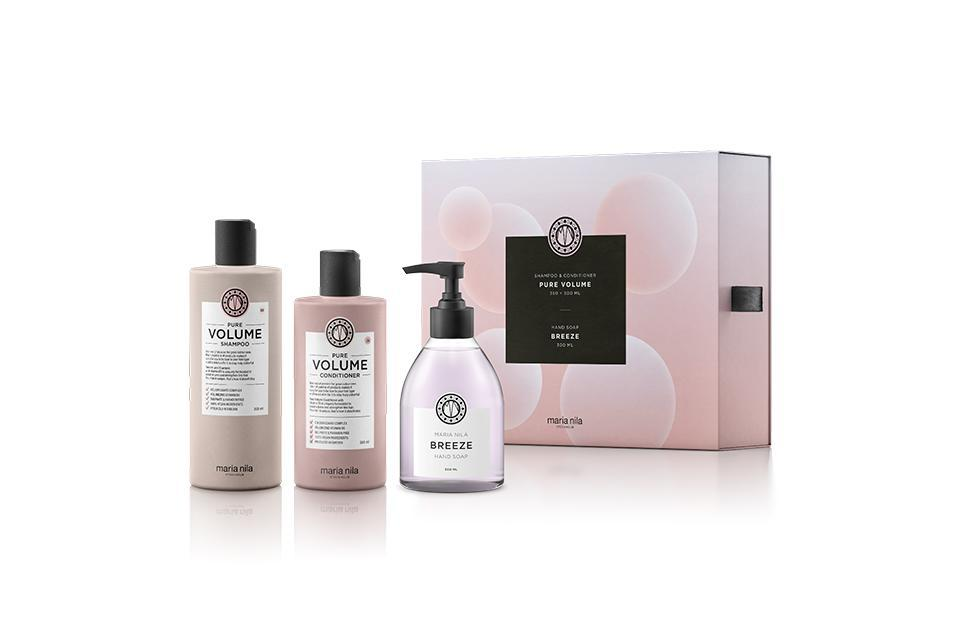 """<p>Maria Nila is famed for its vegan-friendly haircare range and we've got our hearts set on the Stockholm-based brand's festive collection this year. The miniature set includes pro-vitamin B5 shampoo and conditioner with a hand soap perfect destined for your bathroom shelf. <em><a href=""""https://marianila.com/en/shop/hair-care/pure-volume-holiday-duo-box"""" rel=""""nofollow noopener"""" target=""""_blank"""" data-ylk=""""slk:Maria Nila"""" class=""""link rapid-noclick-resp"""">Maria Nila</a>, £39</em> </p>"""