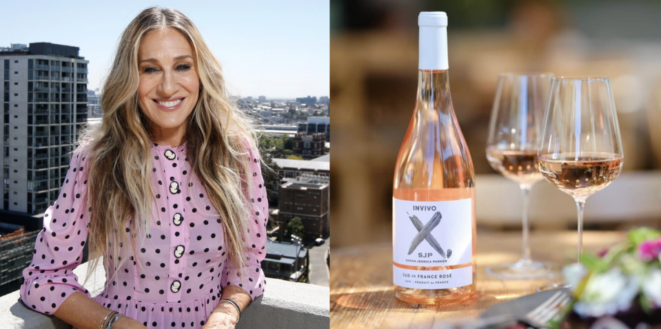 """<p>SJP drew on her experience blending perfumes in her collaboration with Invivo, an award-winning wine company in New Zealand, which began with two old school friends making wine with """"grapes, time, and two maxed out credit cards."""" These days, SJP is instrumental in naming the wines—her newest one is a rosé from the South of France—and designing the labels. Fun fact: The label's teal shade matches the exact shade of """"Hamilton,"""" one of her favorite satin shoe colorways from her SJP Collection label.</p><p><a class=""""link rapid-noclick-resp"""" href=""""https://go.redirectingat.com?id=74968X1596630&url=https%3A%2F%2Fwww.wine.com%2Fproduct%2Finvivo-x-by-sarah-jessica-parker-wine-tasting-set-duo%2F622430&sref=https%3A%2F%2Fwww.delish.com%2Ffood%2Fg32949671%2Fcelebrity-alcohol-brands%2F"""" rel=""""nofollow noopener"""" target=""""_blank"""" data-ylk=""""slk:BUY NOW"""">BUY NOW</a> <em><strong>$39, wine.com</strong></em></p>"""