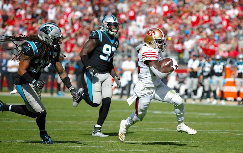 SANTA CLARA, CA - OCTOBER 27: Tevin Coleman #26 of the San Francisco 49ers rushes for a 48-yard touchdown during the game against the Carolina Panthers at Levi's Stadium on October 27, 2019 in Santa Clara, California. The 49ers defeated the Panthers 51-13. (Photo by Michael Zagaris/San Francisco 49ers/Getty Images)