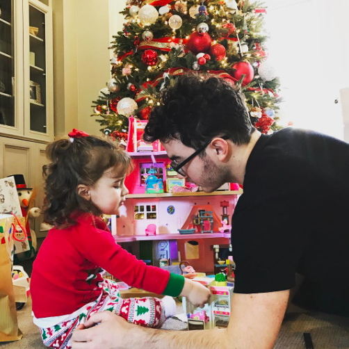 """<p>Christmas is for children! Kevin Jonas had fun watching his 2-year-old daughter, Alena, play with her new toys. (Photo: <a rel=""""nofollow noopener"""" href=""""https://www.instagram.com/p/BOcsL_kD_vn/"""" target=""""_blank"""" data-ylk=""""slk:Instagram"""" class=""""link rapid-noclick-resp"""">Instagram</a>) </p>"""