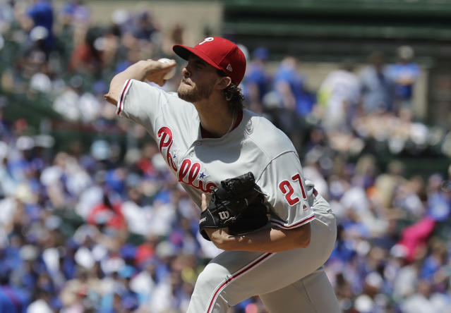 Philadelphia Phillies starting pitcher Aaron Nola throws against the Chicago Cubs during the first inning of a baseball game Thursday, May 23, 2019, in Chicago. (AP Photo/Nam Y. Huh)