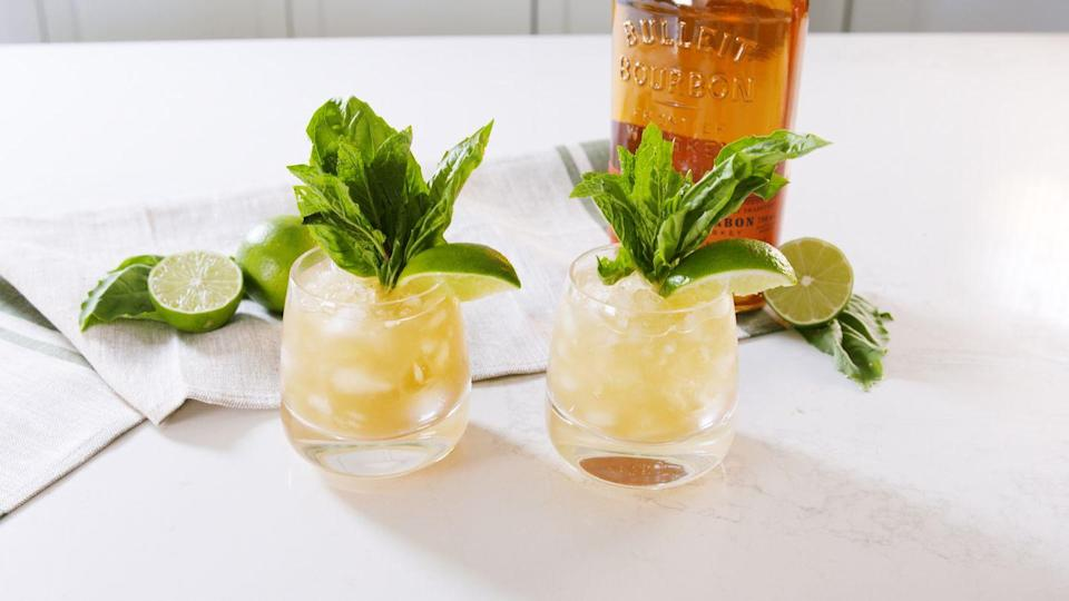 """<p>By using brown sugar instead of white <em>and</em> fresh basil in addition to the classic mint, we upgraded the mint julep to a cocktail you'll want to sip all summer long.</p><p>Get the recipe from <a href=""""https://www.delish.com/cooking/recipe-ideas/a36401704/brown-sugar-mint-julep-recipe/"""" rel=""""nofollow noopener"""" target=""""_blank"""" data-ylk=""""slk:Delish"""" class=""""link rapid-noclick-resp"""">Delish</a>.</p>"""