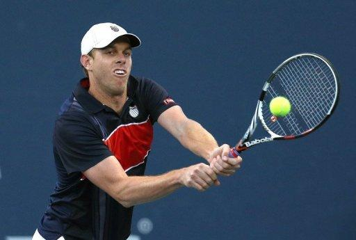 Sam Querrey hits a return to Xavier Malisse of Belgium during day five of the Farmers Classic Presented By Mercedes-Benz at LA Tennis Center at the University of California, Los Angeles, on July 27. Malisse retired with Querrey leading 6-2, 3-1
