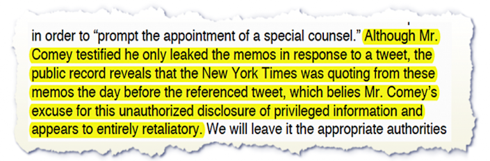 Excerpt from Trump attorney, Marc Kasowitz's statement to the press reguarding the Comey testimony.