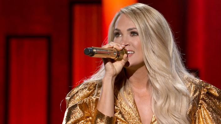 NASHVILLE, TENNESSEE - SEPTEMBER 13: (EDITORIAL ONLY. NOT RELEASED. NO COVER USAGE.) In this screengrab, Carrie Underwood performs onstage during the 55th Academy of Country Music Awards at the Grand Ole Opry on September 13, 2020 in Nashville, Tennessee. The 55th Academy of Country Music Awards is on September 16, 2020 with some live and some prerecorded segments.. (Photo by ACMA2020/Getty Images for ACM)