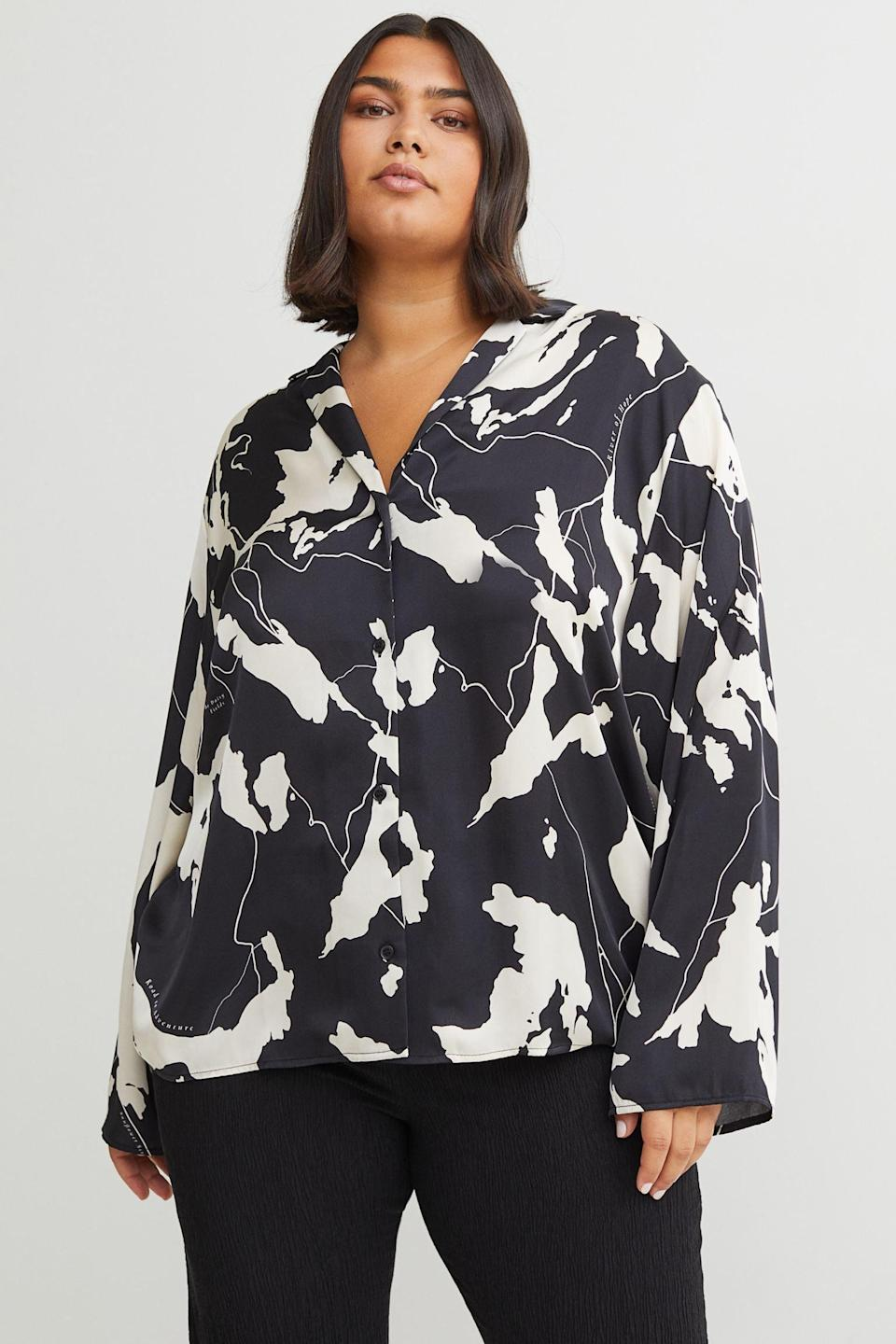 <p>This <span>Patterned Satin Shirt</span> ($24, originally $30) is perfect for an office party or a dressy event. Pair it with black trousers and some kitten heels to amp up the elegance.</p>
