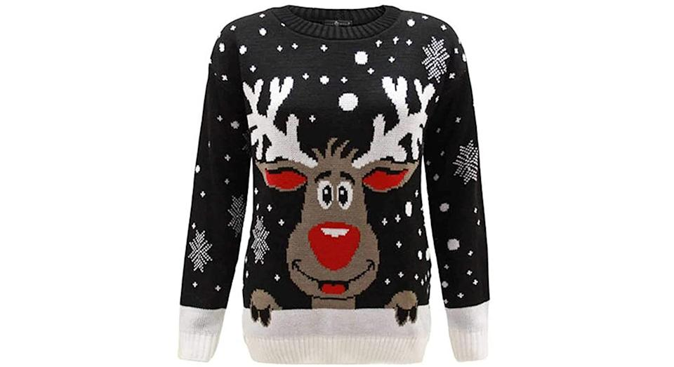 WearAll Women's Knitted Merry Christmas Long Sleeve Xmas Tree Ladies Pom Jumper