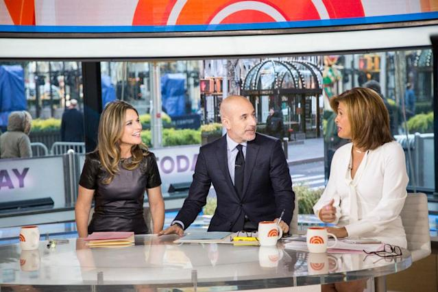 Savannah Guthrie, left, Matt Lauer, and Hoda Kotb host <em>Today</em> together just days before Lauer is terminated. (Photo: Tyler Essary/NBC/NBCU Photo Bank)