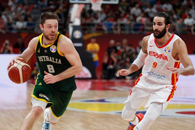 Australia's Andrew Bogut insinuated corruption by FIBA after a semifinal loss to Spain. (Photo by VCG/VCG via Getty Images)