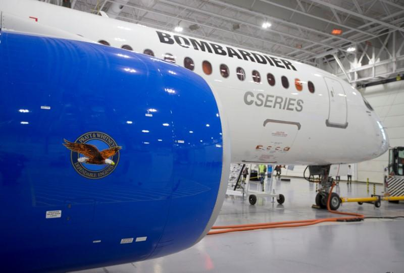 Bombardier's CS300 Aircraft showing its Pratt & Whitney engine in the foreground sits in the hangar prior to its test flight in Mirabel