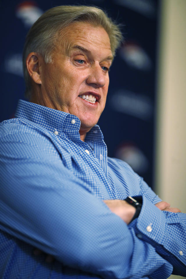 John Elway, general manager of the Denver Broncos, talks with reporters during a news conference about the team's priorities in the NFL Draft Thursday, April 19, 2018, in the team's headquarters in Englewood, Colo. (AP Photo/David Zalubowski)