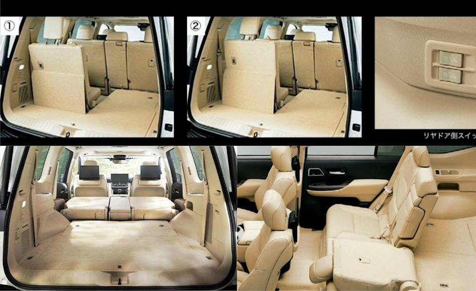 <p>Unlike the 20o series, which stored the third row seats upright on either side of the cargo area, the new Land Cruiser's third row can fold completely flat. The second row also manually flips up to allow for maximum cargo space. </p>