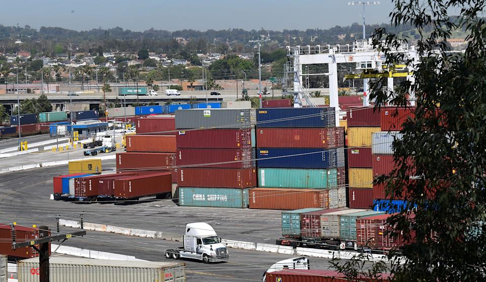 Shipping containers are stacked high at the Port of Los Angeles, California on April 19, 2021, where records continue to be set for incoming cargo at the nation's 1 container port which had its busiest March in 114 years. (Photo by Frederic J. BROWN / AFP) (Photo by FREDERIC J. BROWN/AFP via Getty Images)