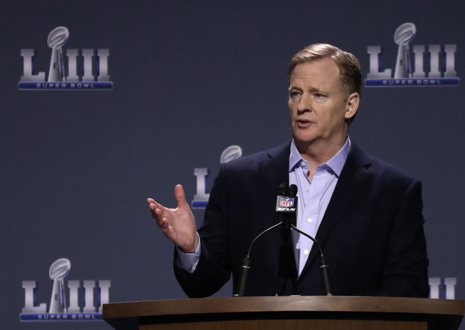 NFL Commissioner Roger Goodell answers a question during a news conference on Wednesday. (AP)