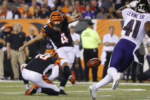 FILE - In this Sept. 13, 2018, file photo, Cincinnati Bengals' Randy Bullock (4) kicks a field goal during the second half of the team's NFL football game against the Baltimore Ravens in Cincinnati. While other teams look for new kickers only two games into the season, the Bengals have given Randy Bullock a two-year extension through 2020, an indication of their confidence. Bullock is perfect so far this season on his four field goal attempts and his eight extra-point kicks. (AP Photo/Frank Victores, File)