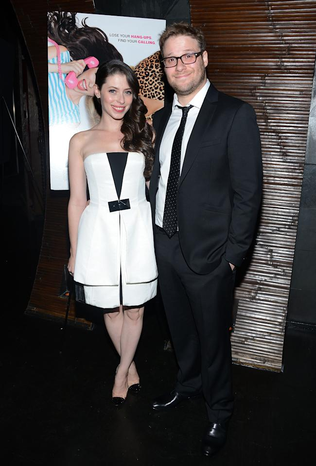 "NEW YORK, NY - AUGUST 21:  Lauren Miller and Seth Rogen attend the after party for the ""For A Good Time, Call..."" premiere at Ajna Bar on August 21, 2012 in New York City.  (Photo by Jason Kempin/Getty Images)"