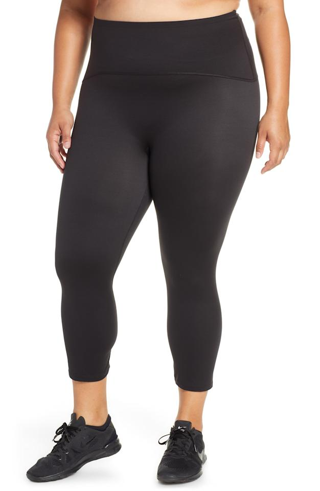 """<p><strong>SPANX</strong></p><p>nordstrom.com</p><p><strong>$59.90</strong></p><p><a href=""""https://go.redirectingat.com?id=74968X1596630&url=https%3A%2F%2Fshop.nordstrom.com%2Fs%2Fspanx-active-crop-leggings-plus-size%2F4963569&sref=http%3A%2F%2Fwww.womenshealthmag.com%2Ffitness%2Fg28447259%2Fnordstrom-anniversary-sale-activewear-deals-2019%2F"""" target=""""_blank"""">Shop Now</a></p><p>Made from Slim-X compression fabric, these Spanx leggings will hold on tight and never let you go. They feature a wide, dig-free waistband for comfortable support.</p>"""