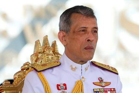 Thailand's King Maha Vajiralongkorn Bodindradebayavarangkun watches the annual Royal Ploughing Ceremony in central Bangkok
