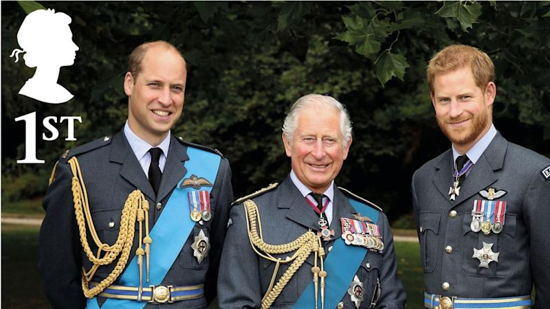 Prince Charles and his sons William and Harry feature in a triple portrait in a set of royal stamps