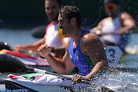 <p>Tokyo 2020 Olympics - Canoe Sprint - Men's K1 200m - Semifinal 2 - Sea Forest Waterway, Tokyo, Japan - August 5, 2021. Manfredi Rizza of Italy reacts after the race REUTERS/Maxim Shemetov</p>