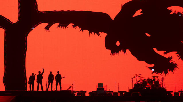 <p>Members of U2 kick off their world tour of the Joshua Tree in Vancouver, British Columbia, Friday, May 12, 2017. (Photo: Jonathan Hayward/The Canadian Press via AP) </p>