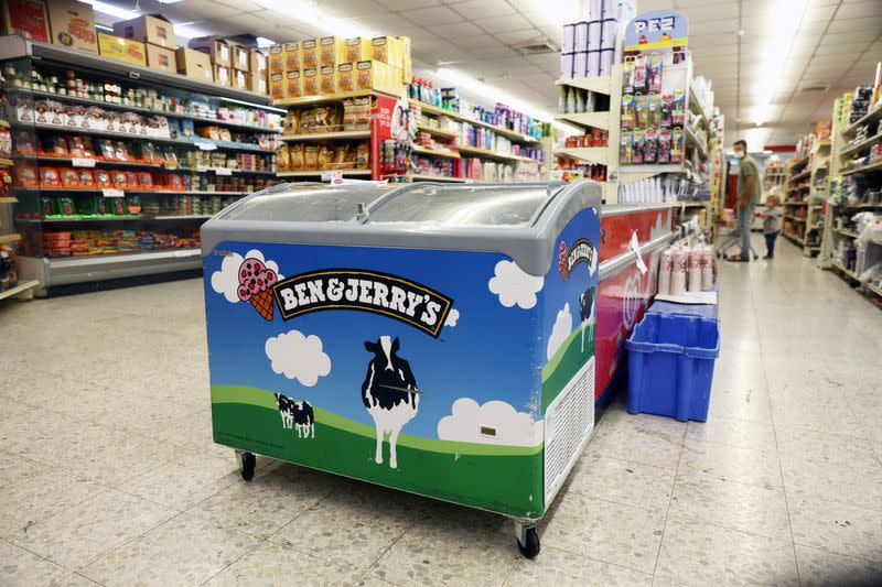 A refrigerator bearing the Ben & Jerry's logo is seen at a food store in the Jewish settlement of Efrat in the Israeli-occupied West Bank