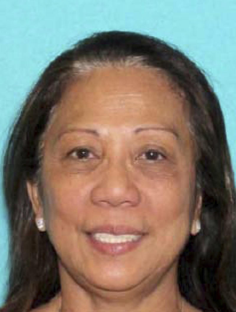 Marilou Danley, 62, returned to the United States from the Philippines on Tuesday night and was met at Los Angeles International Airport by FBI agents, according to a law enforcement official. (Las Vegas Metropolitan Police Department via AP)