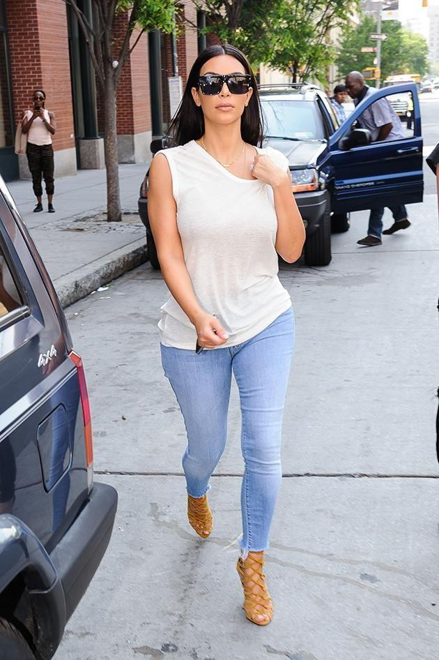 Kim Kardashian steps out in her skinny jeans in New York. Image: Getty