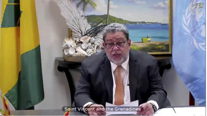 In this image made from UNTV video, Foreign Minister Ralph Everard Gonsalves, of Saint Vincent and the Grenadines, speaks during a U.N. Security Council high-level meeting on COVID-19 recovery focusing on vaccinations, chaired by British Foreign Secretary Dominc Raab, Wednesday, Feb. 17, 2021, at UN headquarters, in New York. (UNTV via AP)