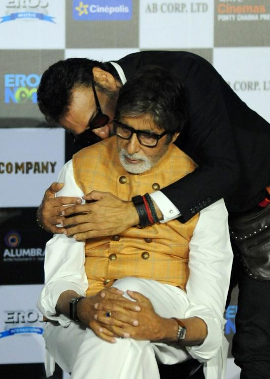 <p>Indian Bollywood actors Amitabh Bachchan (L) and Jackie Shroff pose during the trailer launch of the forthcoming Hindi Film 'Sarkar 3' written and directed by Ram Gopal Varma, in Mumbai on March 1, 2017. </p>