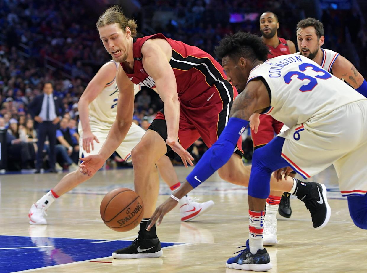 """<a class=""""link rapid-noclick-resp"""" href=""""/nba/teams/mia"""" data-ylk=""""slk:Miami Heat"""">Miami Heat</a> big man <a class=""""link rapid-noclick-resp"""" href=""""/nba/players/5164/"""" data-ylk=""""slk:Kelly Olynyk"""">Kelly Olynyk</a> chopped of his hair this weekend, donating it to charity. (Getty Images)"""