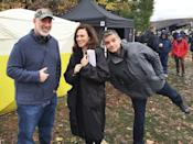 """<p>May I introduce the guys who made it happen, Brian Koppelman and David Levien. And the rose in the middle, the beautiful and talented Maggie Siff, also known as ball-breaking Wendy Rhodes. — <a href=""""https://www.instagram.com/therealmalinakerman/"""" rel=""""nofollow noopener"""" target=""""_blank"""" data-ylk=""""slk:@therealmalinakerman"""" class=""""link rapid-noclick-resp"""">@therealmalinakerman</a></p><p><i>(Credit: Instagram)</i><br></p>"""
