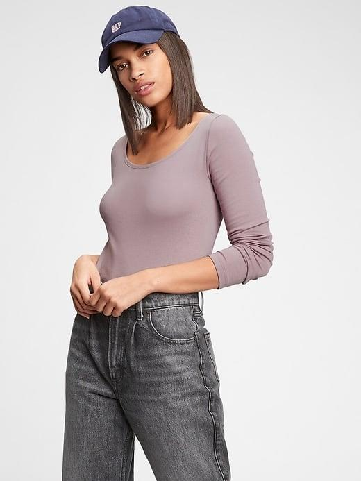<p>There are several pastel options of the <span>Gap Modern Scoopneck T-Shirt</span> ($23, originally $25), but this cool purple popped right out.</p>