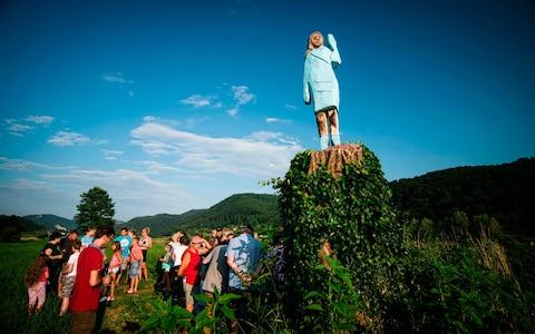 After Melania cake, Melania honey, and even Melania slippers, the Slovenian hometown of the US's first lady now boasts a Melania statue, by conceptual artist Ales 'Maxi' Zupevc that has drawn mixed reviews.