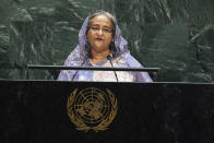 Bangladesh's Prime Minister Sheikh Hasina addresses the 74th session of the United Nations General Assembly at the U.N. headquarters, Friday, Sept. 27, 2019. (AP Photo/Kevin Hagen)