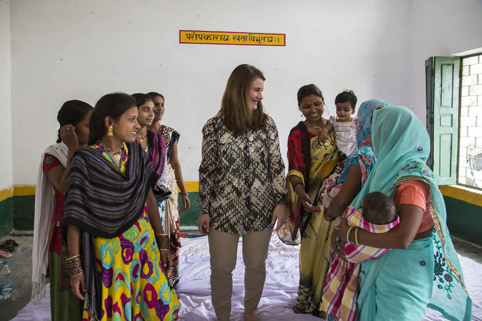 Melinda Gates with women who belong to a Young Women Self Help Group in Uttar Pradesh, India, in 2016. (Photo: Courtesy of the Gates Archive)