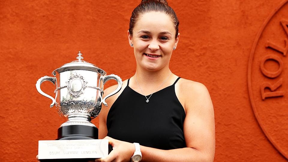 Ash Barty, pictured here with the winner's trophy after the 2019 French Open.