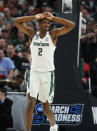 Michigan State forward Jaren Jackson Jr. (2) reacts during the second half against Syracuse in an NCAA men's college basketball tournament second-round game in Detroit, Sunday, March 18, 2018. (AP Photo/Paul Sancya)