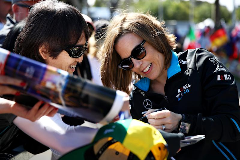 MELBOURNE, AUSTRALIA - MARCH 14: Williams Deputy Team Principal Claire Williams arrives at the track and signs autographs for fans during previews ahead of the F1 Grand Prix of Australia at Melbourne Grand Prix Circuit on March 14, 2019 in Melbourne, Australia. (Photo by Mark Thompson/Getty Images)