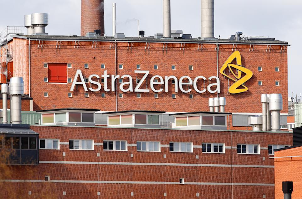 Sodertalje, Sweden - April 13, 2020: Extrior view of the multinational pharmaceutical and biopharmaceutical company AstraZeneca production plant located at Snackviken.