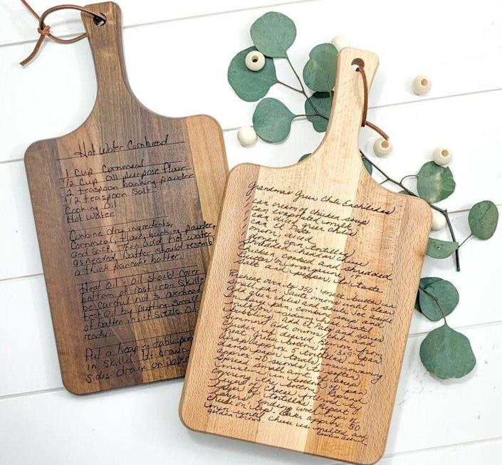 """This Texas-based Etsy shop designs custom laser-cut wood signs and home decor. Shop this <a href=""""https://fave.co/2AUIp8P"""" rel=""""nofollow noopener"""" target=""""_blank"""" data-ylk=""""slk:recipe cutting board for $59"""" class=""""link rapid-noclick-resp"""">recipe cutting board for $59</a> at <a href=""""https://fave.co/3ffYgxt"""" rel=""""nofollow noopener"""" target=""""_blank"""" data-ylk=""""slk:Morning Joy Co on Etsy"""" class=""""link rapid-noclick-resp"""">Morning Joy Co on Etsy</a>."""