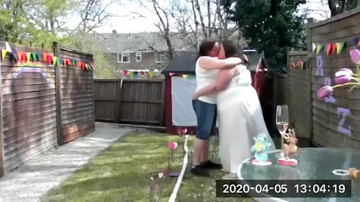 The wedding went ahead via Zoom. (SWNS)