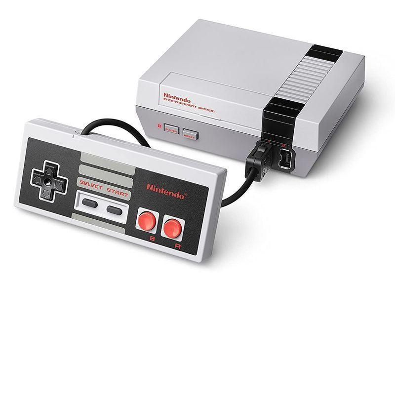 """<p><strong>Nintendo</strong></p><p>amazon.com</p><p><strong>$186.00</strong></p><p><a href=""""https://www.amazon.com/Nintendo-Entertainment-System-NES-Classic/dp/B01IFJBQ1E?tag=syn-yahoo-20&ascsubtag=%5Bartid%7C10054.g.14381053%5Bsrc%7Cyahoo-us"""" rel=""""nofollow noopener"""" target=""""_blank"""" data-ylk=""""slk:Buy"""" class=""""link rapid-noclick-resp"""">Buy</a></p><p><a href=""""https://www.esquire.com/lifestyle/g27110663/best-nintendo-switch-video-games/"""" rel=""""nofollow noopener"""" target=""""_blank"""" data-ylk=""""slk:Nintendo"""" class=""""link rapid-noclick-resp"""">Nintendo</a> threw it back to the '80s by re-re-releasing the NES system. Not only will it make you nostalgic as hell, but it comes with <em>Super Mario Bros.</em> and <em>Final Fantasy</em>. New sets are rare, but you can still dig up that retro mystique on Amazon. </p>"""