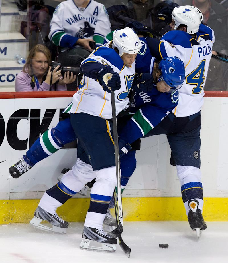 Hansen scores as Canucks blank Blues 1-0