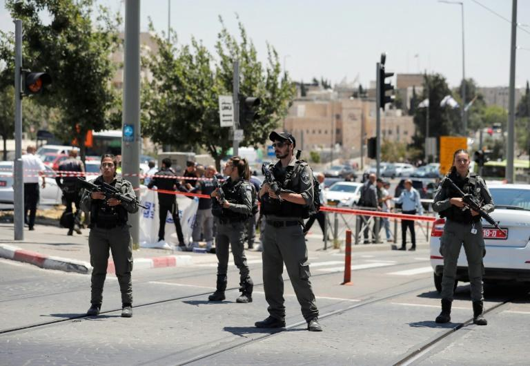 Israeli security forces cordon off the site of a the fatal altercation near the Sheikh Jarrah neighbourhood of east Jerusalem on Monday