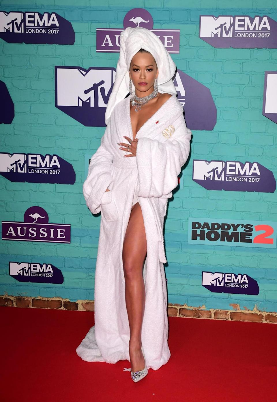 (Laid-back look: Rita Ora was pictured in just a dressing gown and towel on the red carpet PA Wire/PA Images)