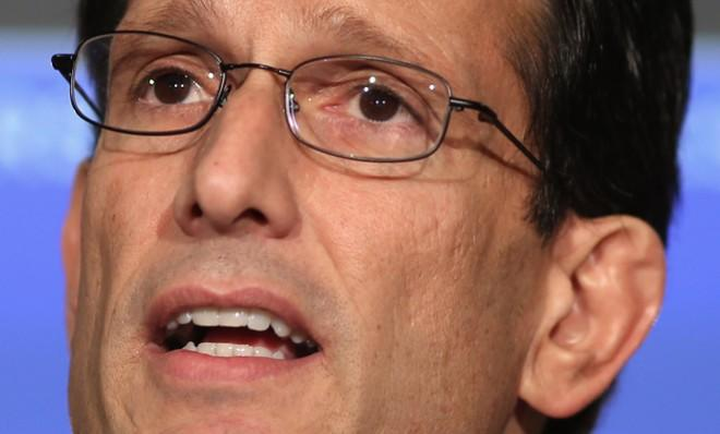 House Majority Leader Eric Cantor speaks during a news conference on Feb. 13 about the pending fiscal sequestration.